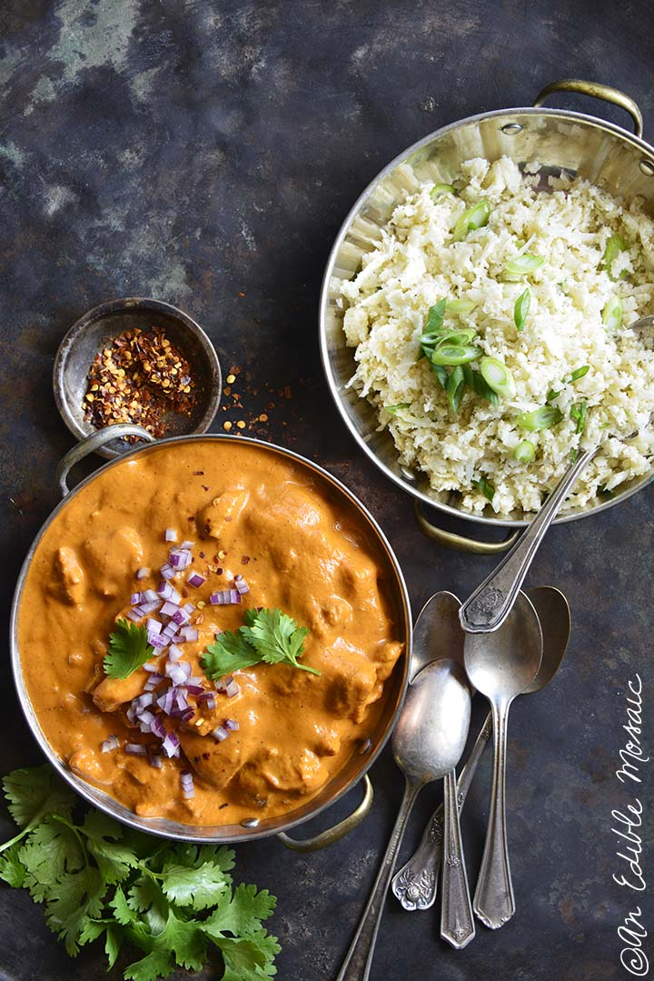 Easy Low Carb Butter Chicken with Bowl of Cauliflower Rice on Metal Background