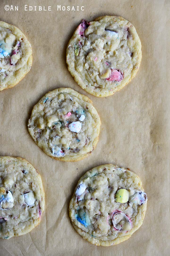 Easter Cookies on Tray with Parchment Paper