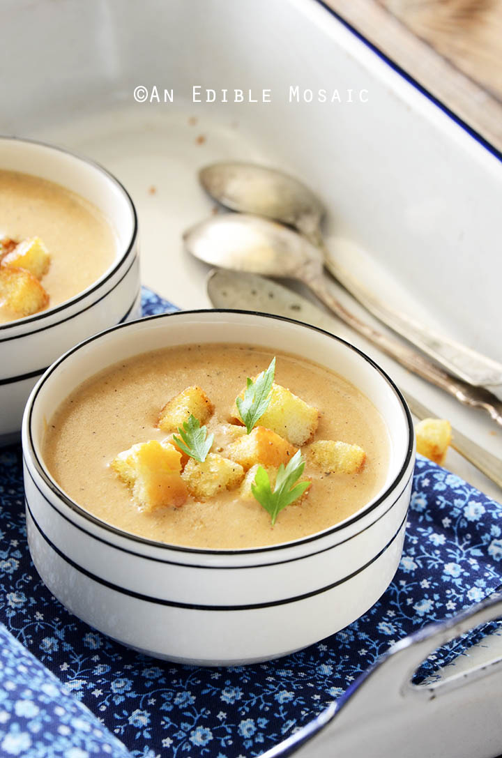 Cream of Caramelized Onion and Cheese Chowder with Homemade Croutons