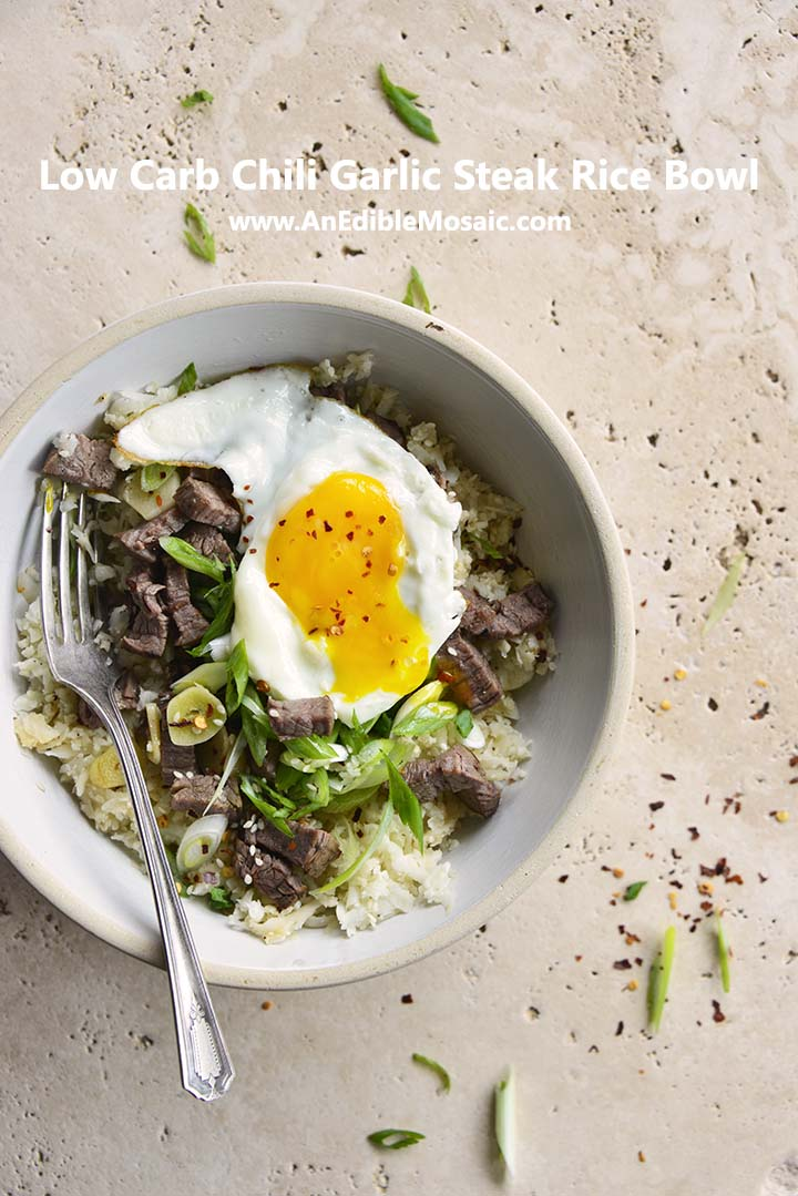 Low Carb Chili Garlic Steak Rice Bowl Pin