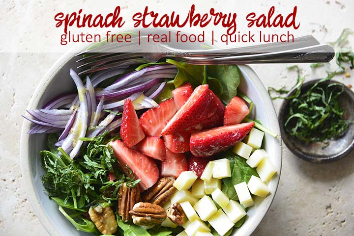 Spinach Strawberry Salad Recipe Overhead Close Up