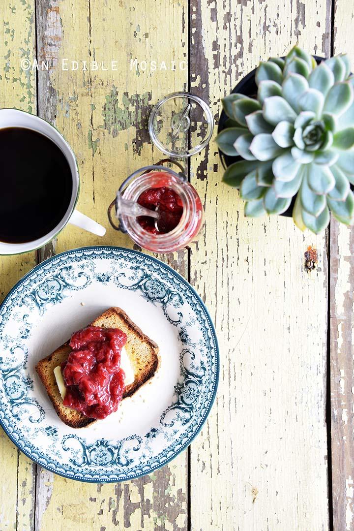 Breakfast Spread of Coffee with Sugar Free Strawberry Jam on Toast