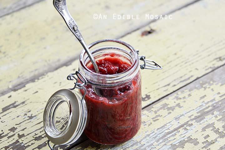 Close Up of Glass Jar of Sugar Free Strawberry Jam