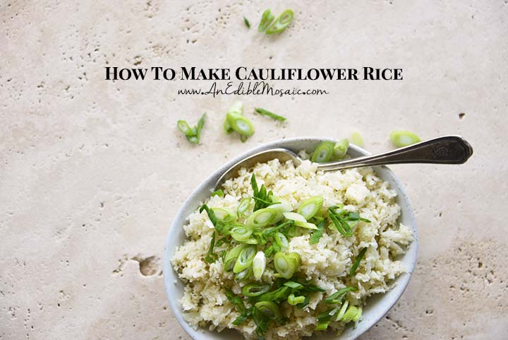 Cauliflower Rice Topped with Scallion in White Bowl