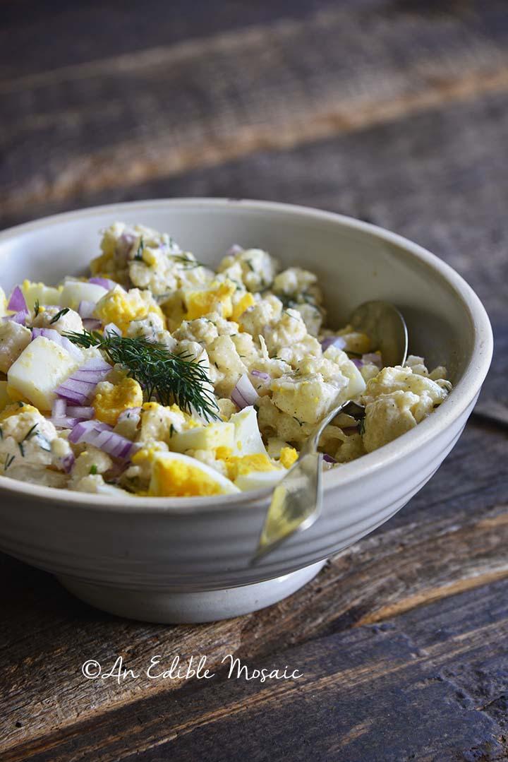 Front View of Low Carb Cauliflower Potato Salad