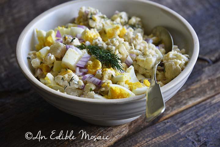 Cauliflower Potato Salad in White Bowl with Spoon