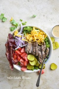 Overhead View of Cheeseburger Salad in a White Bowl