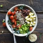 Overhead View of Chopped Kale Salad on Rustic Dark Wood Table