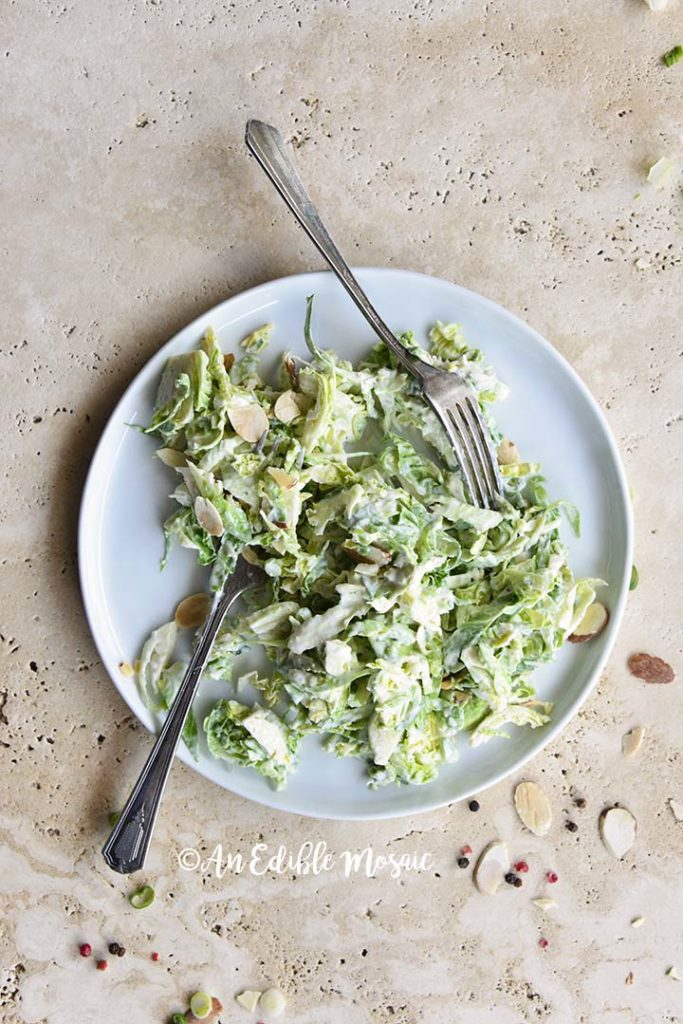 Creamy Brussels Sprouts Salad on Round White Plate with 2 Forks