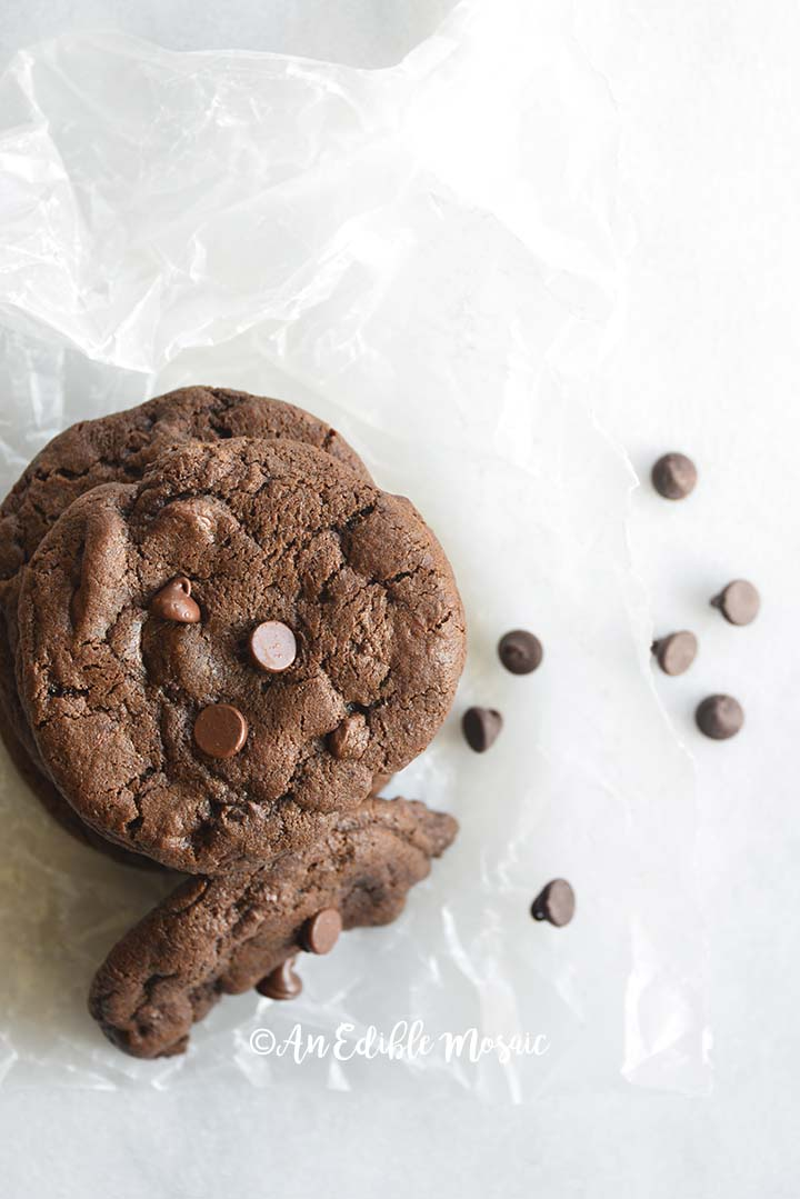 Overhead View of Double Chocolate Chip Cookies