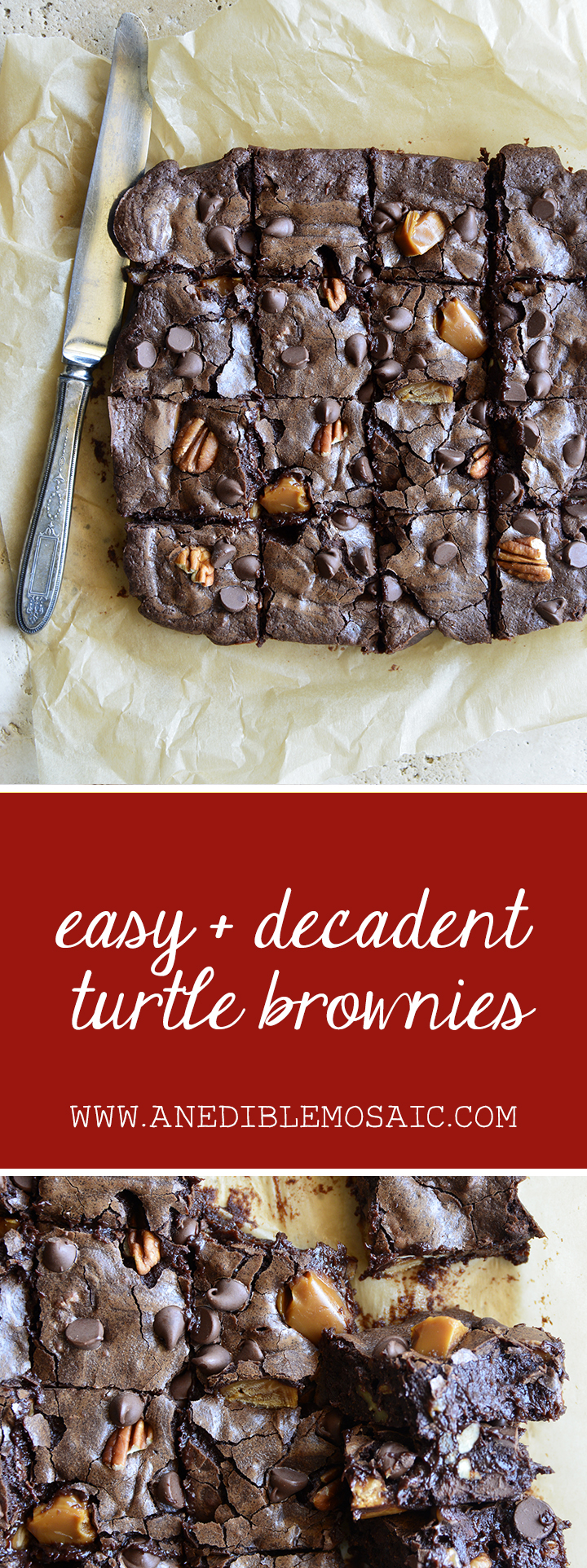 Easy + Decadent Turtle Brownies Pin