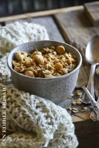Front View of Healthy Granola Recipe with Cashews and Coconut in White Ceramic Bowl