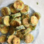 Top View of Keto Crispy Baked Zucchini Slices on Plate