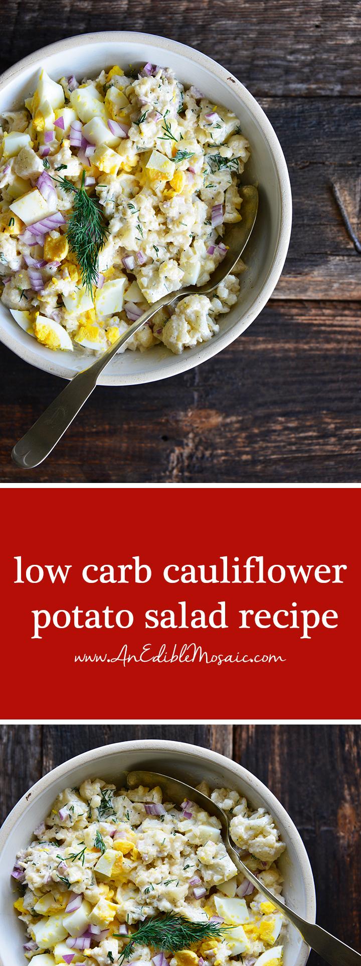 Low Carb Cauliflower Potato Salad Recipe Pin