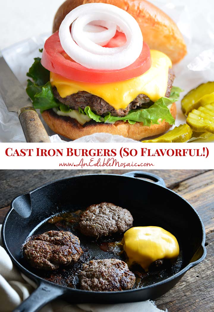 Cast Iron Burgers Recipe Pin