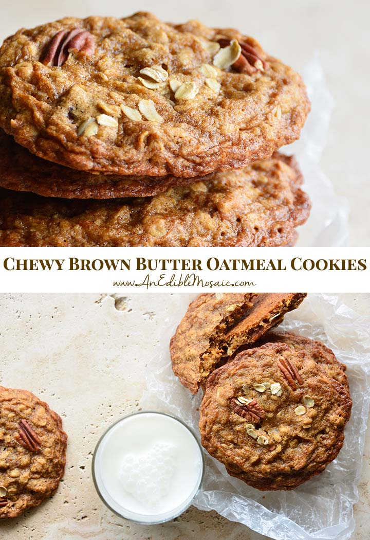 Chewy Brown Butter Oatmeal Cookies Pin