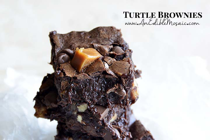 Front View Close Up of Decadent Turtle Brownies