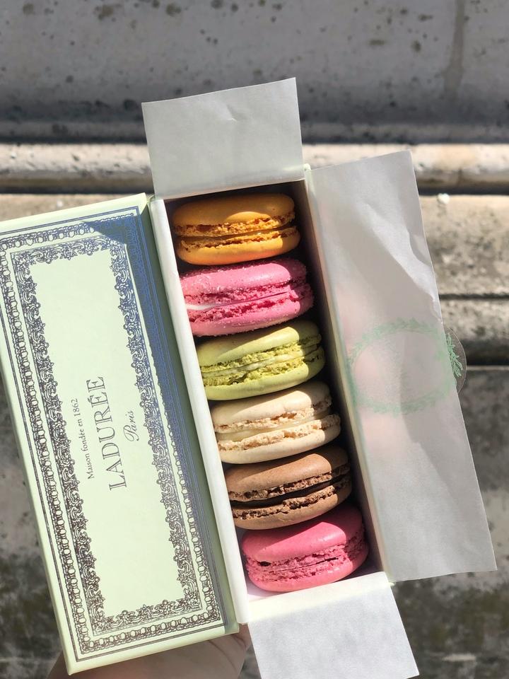 Box of Macarons in Green Laduree Box