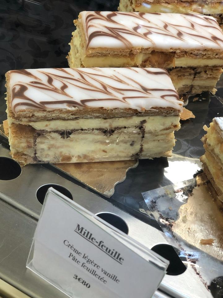 Mille Feuille in Bakery Case in Paris