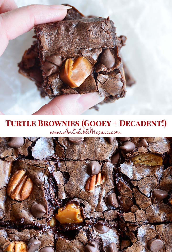Turtle Brownies (Gooey and Decadent) Recipe Pin
