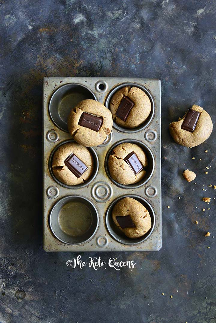 Almond Butter Cookies (Copycat Keto Peanut Butter Hershey Kiss Cookies) in Metal Muffin Tray
