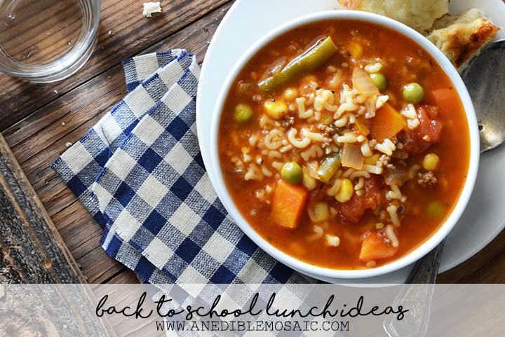 Back to School Lunch Ideas Bowl of Vegetable Beef Alphabet Soup
