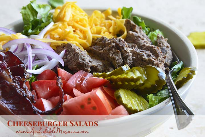 Cheeseburger Salads with Description
