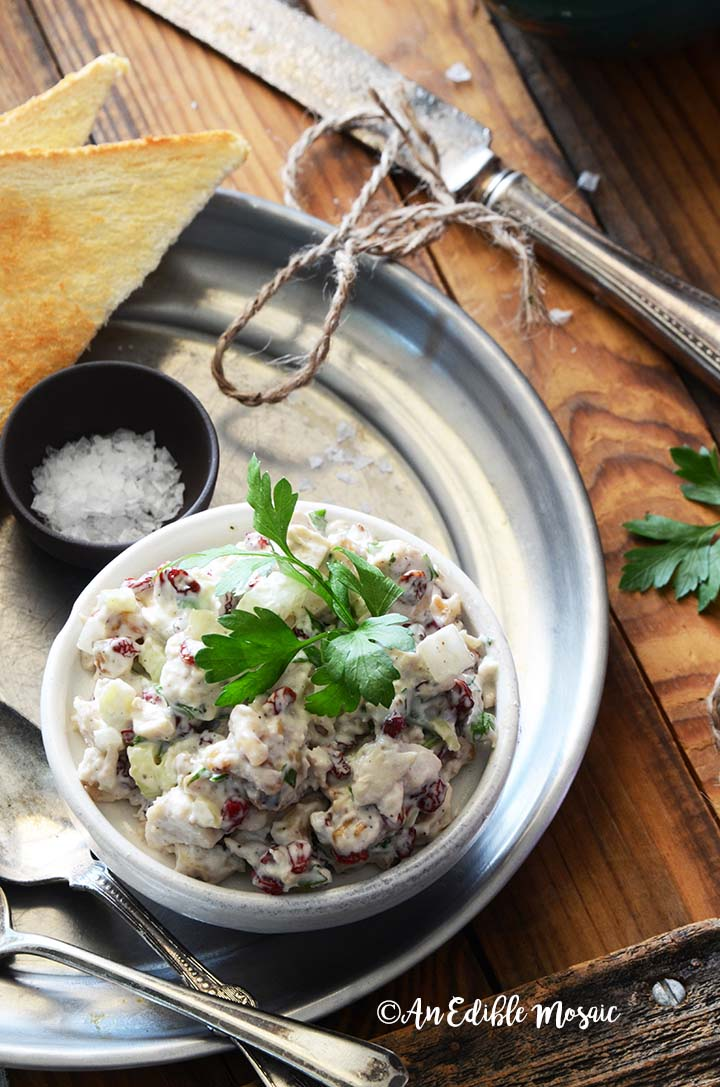 Dish of Creamy Cranberry Walnut Chicken Salad on Metal Tray