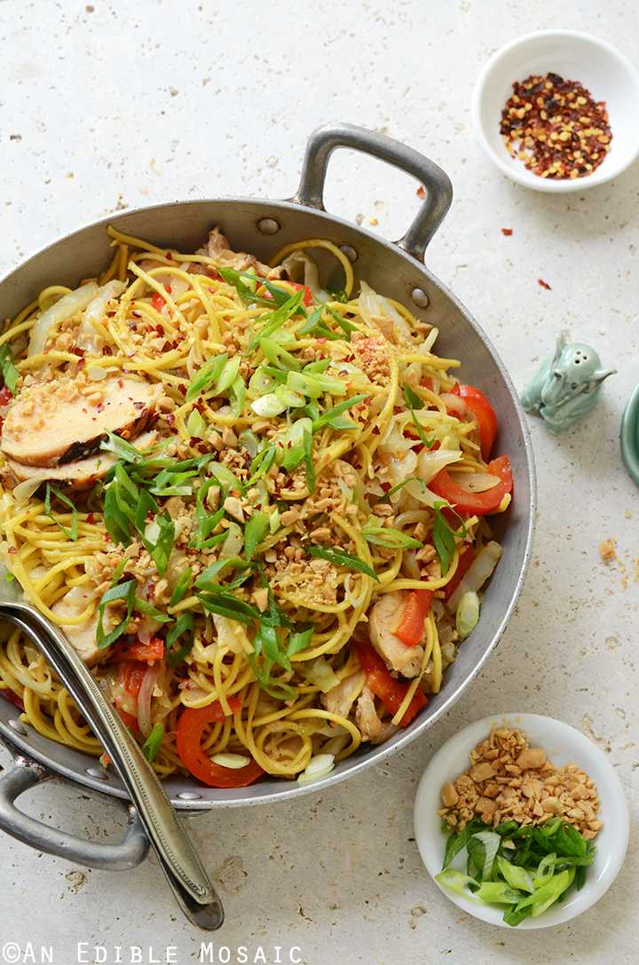 Thai-Inspired Soy Sauce Noodles with Vegetables and Chicken in Metal Dish