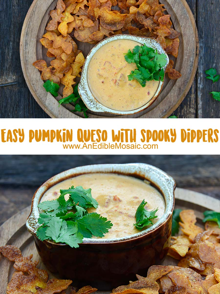 Easy Pumpkin Queso Dip with Spooky Dippers Pinnable Image