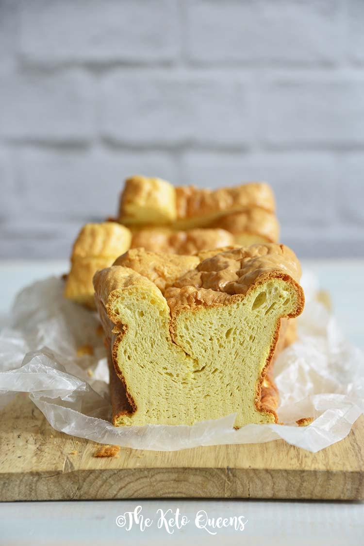 Front View of Homemade White Bread Recipe (Almost Zero Carb Bread) on Bread Board
