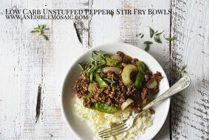 Low Carb Unstuffed Peppers Stir Fry Bowls with Description