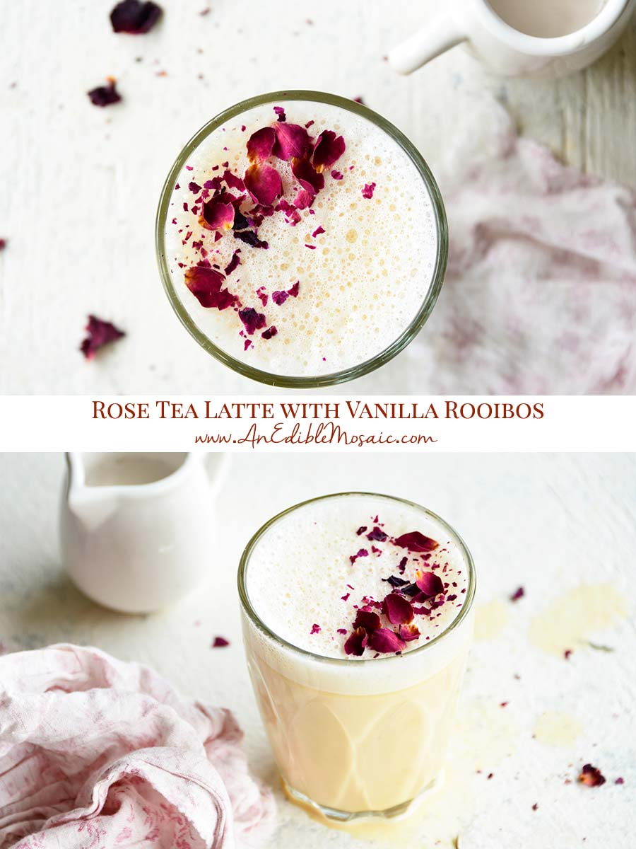 Rose Tea Latte with Vanilla Rooibos Pinnable Image