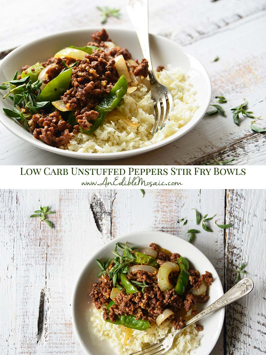 Unstuffed Peppers Stir Fry Bowls Pinnable Image