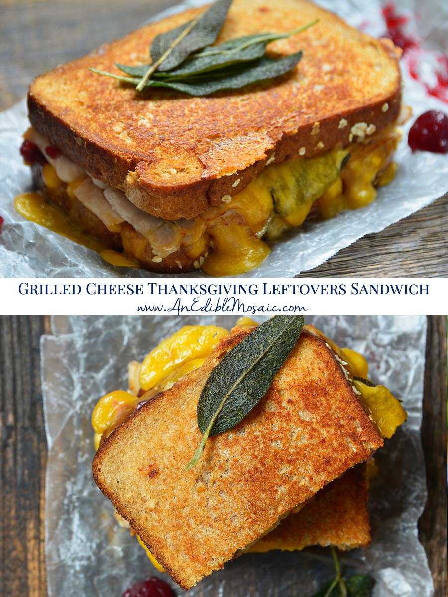 Grilled Cheese Thanksgiving Leftovers Sandwich Recipe Pinnable Image