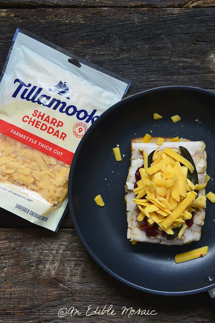Grilled Cheese Thanksgiving Leftovers Sandwich in Frying Pan with Tillamook Cheese