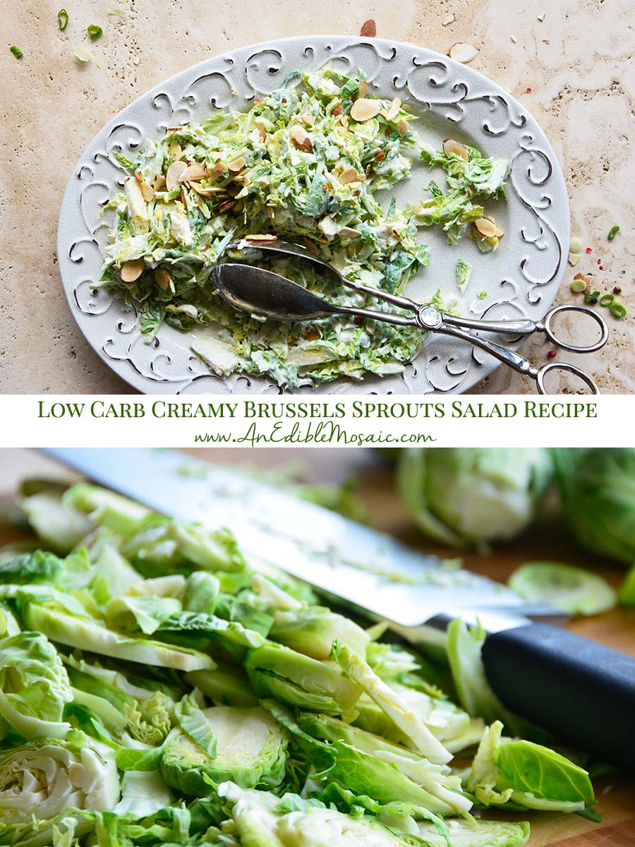 Low Carb Creamy Brussels Sprouts Salad Recipe Pinnable Image