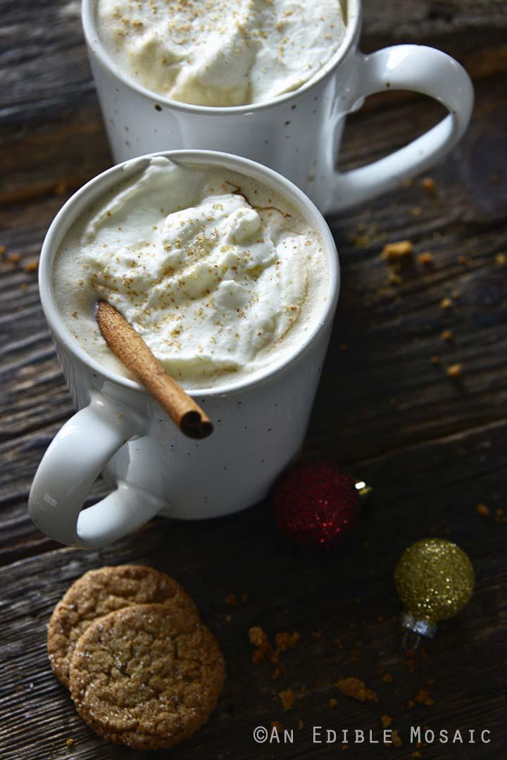 Eggnog Latte in White Mug on Dark Table