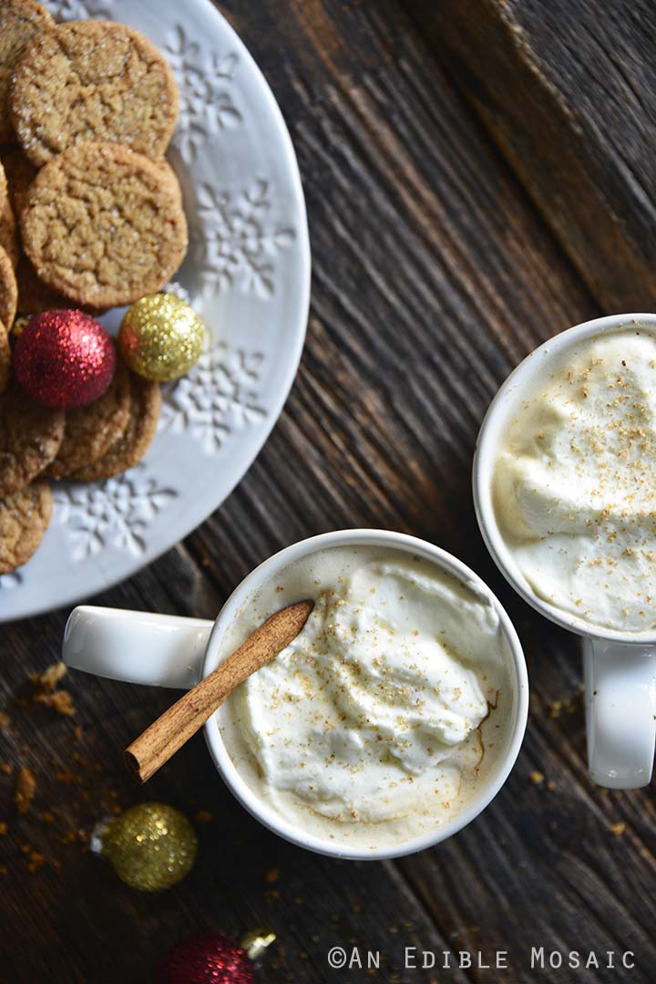 Eggnog Lattes with Gingersnap Cookies