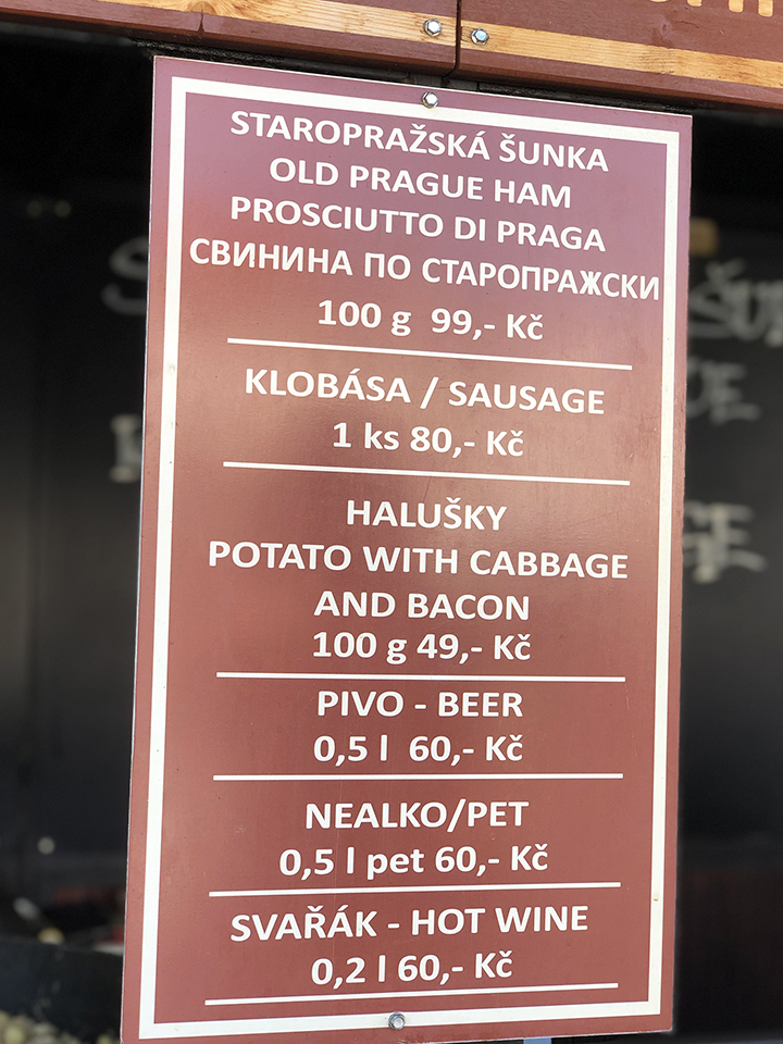 Food Menu Board in Prague