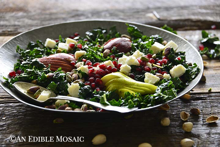 Close Up Front View of Winter Salad with Pears