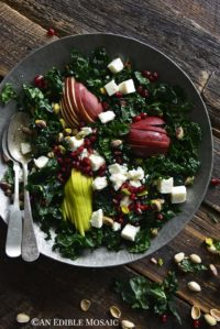 Close Up Overhead View of Winter Salad with Kale and Pomegranate on Wooden Table