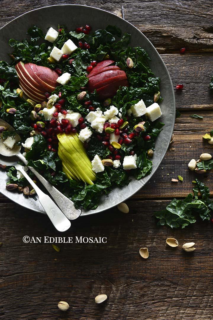 Winter Kale Salad in Metal Bowl
