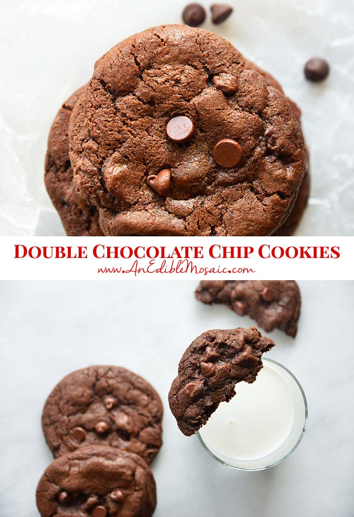 Double Chocolate Chip Cookies Recipe Pin
