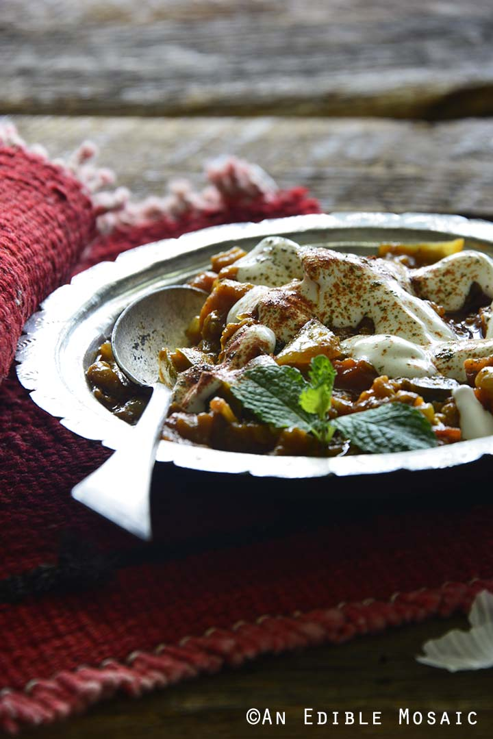 Front View of Afghan Eggplant Recipe in Silver Dish