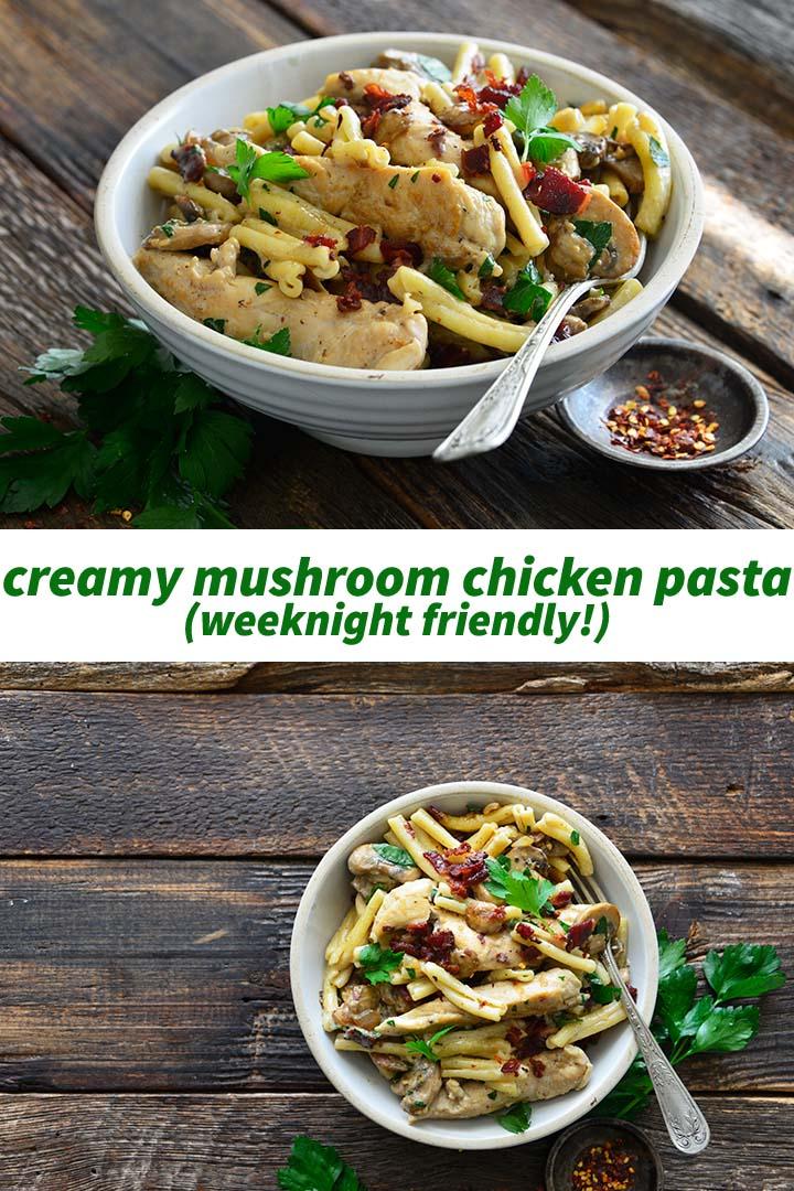 Creamy Mushroom Chicken Pasta Pin