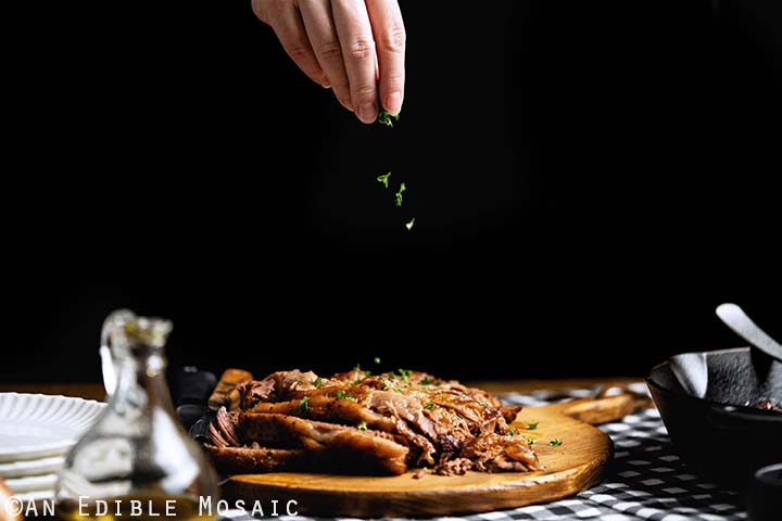 Sprinkling Parsley on Beef Brisket