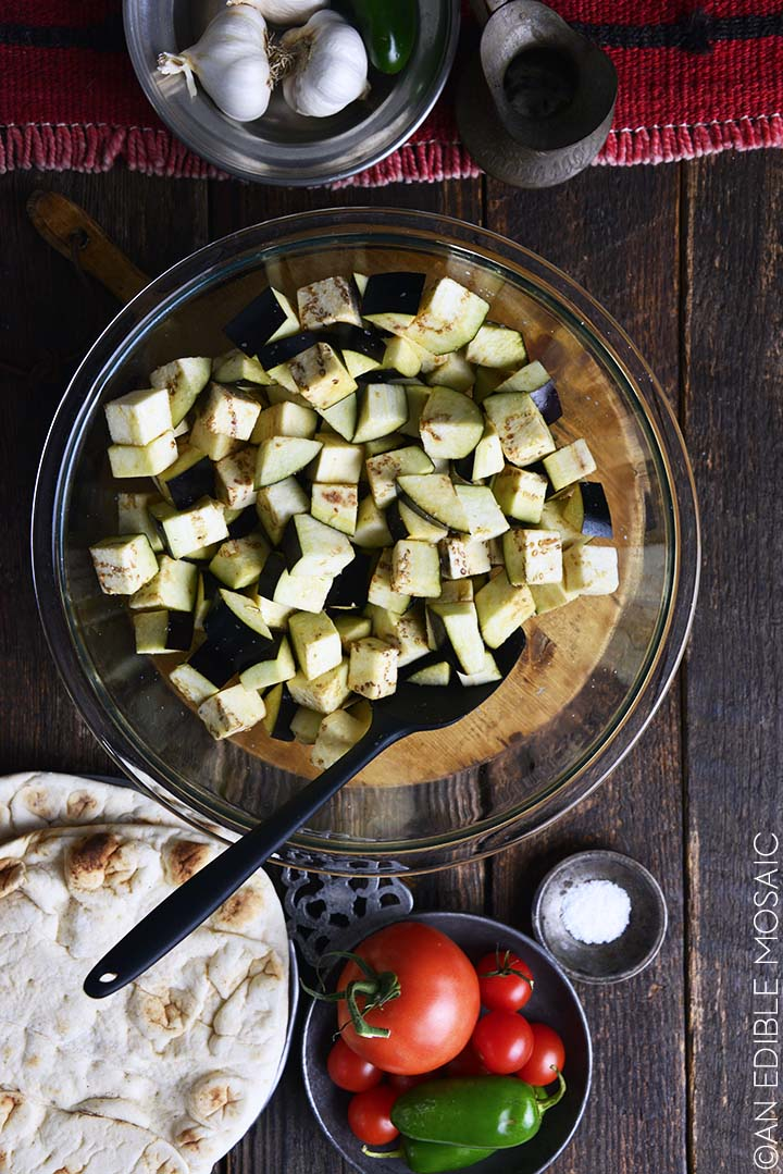 salted eggplant in bowl