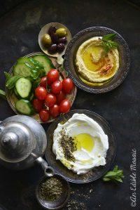Arabic Breakfast Spread on Dark Metal Tray