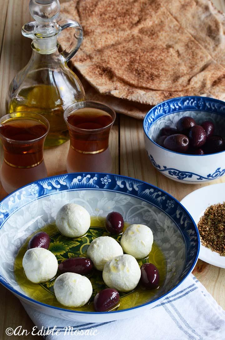Arabic Tea with Yogurt Cheese Balls